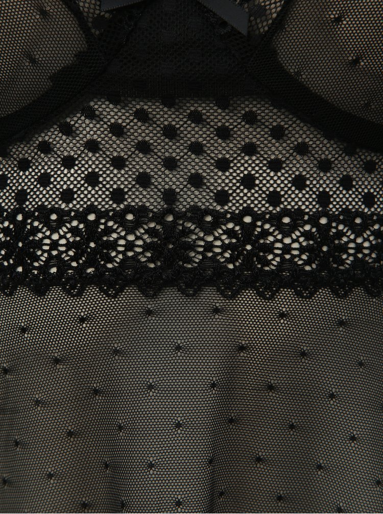 Set de camasa de noapte transparenta cu funda la fata si chiloti tanga negru Obsessive