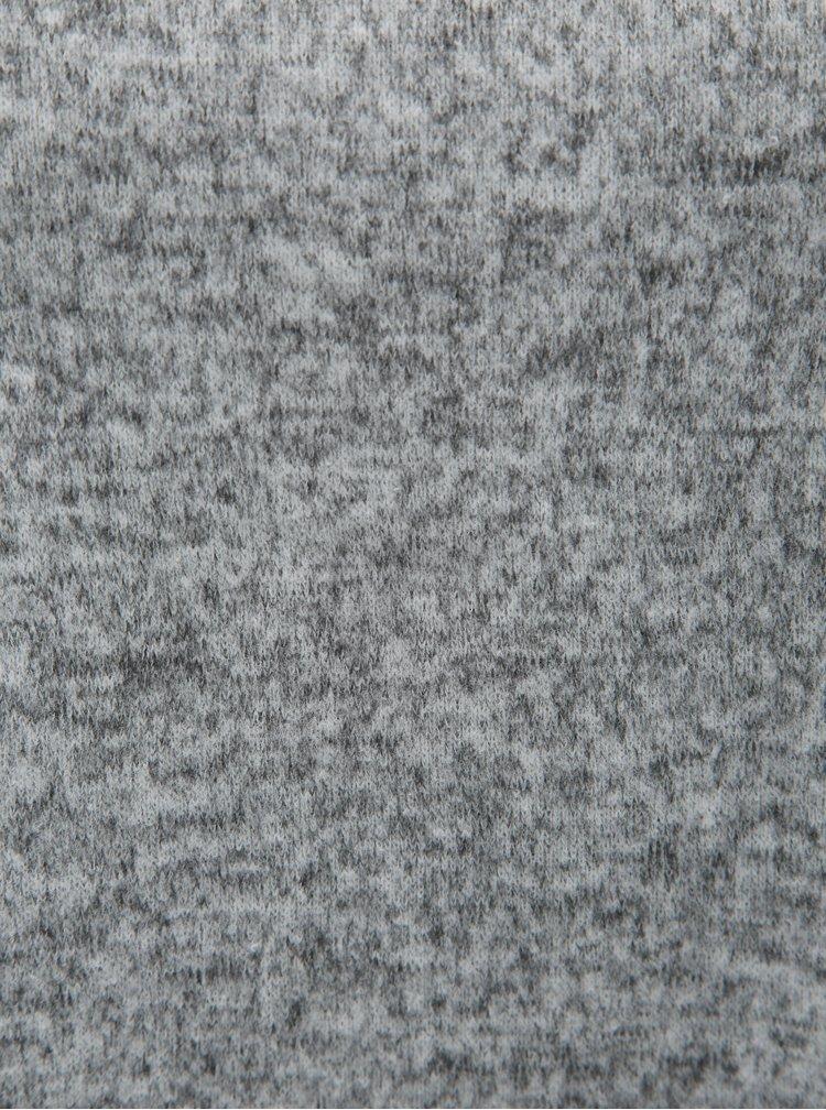 Šedý žíhaný svetr s rolákem s 3/4 rukávem Jacqueline de Yong