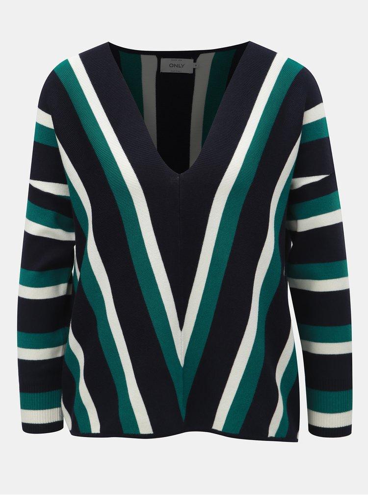 Zeleno-modrý pruhovaný volný svetr s 3/4 rukávem ONLY