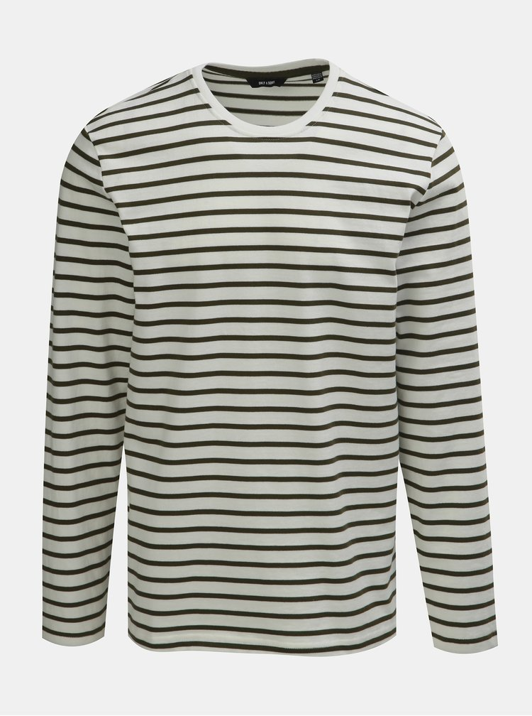 Zeleno–biele pruhované basic tričko s dlhým rukávom ONLY & SONS Evan