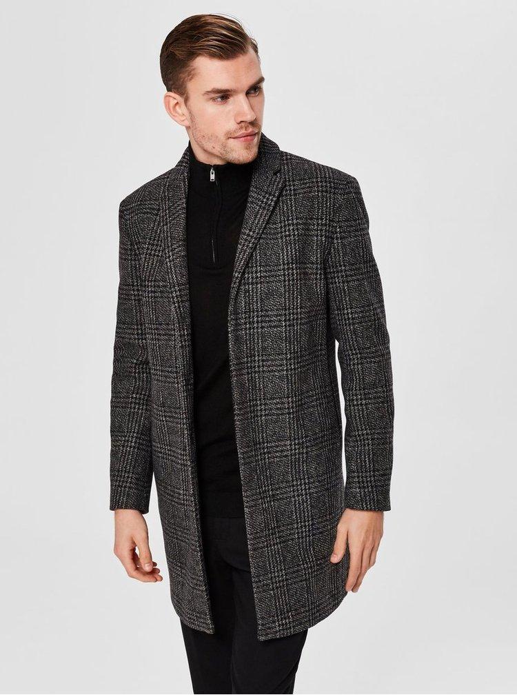 Tmavosivý kockovaný vlnený kabát Selected Homme Brove