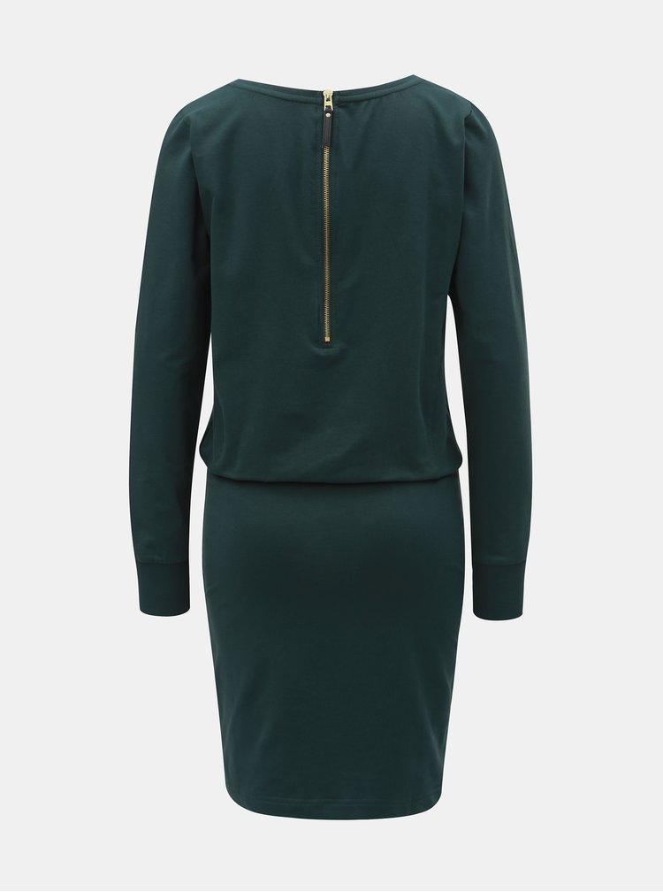 Tmavozelené puzdrové šaty s dlhým rukávom ONLY