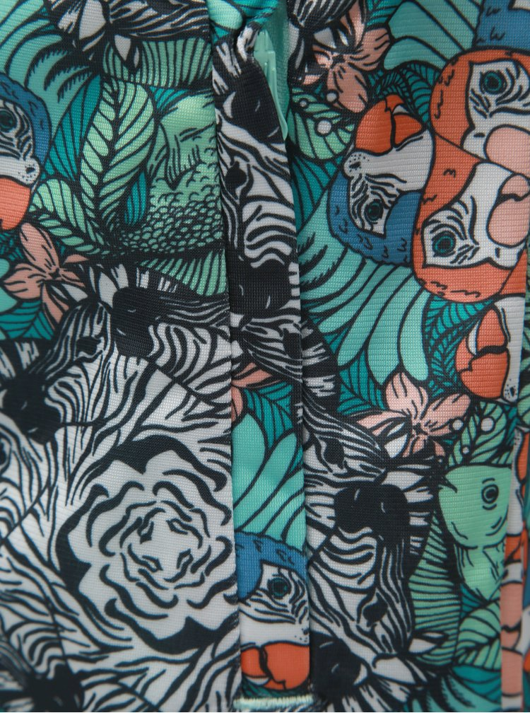 Černo-zelený holčičí vzorovaný mikinový bomber adidas Originals Zoo