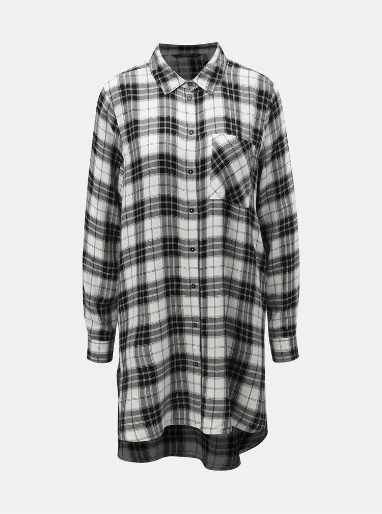 Čierno–biela dlhá károvaná košeľa ONLY