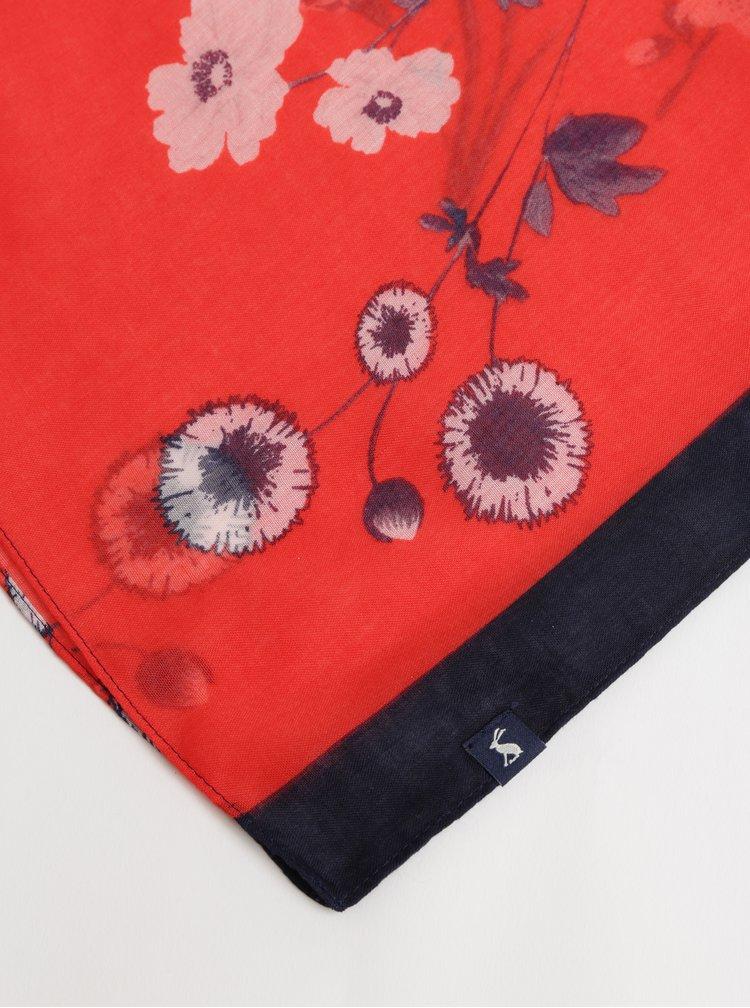 Esarfa rosu-albastru florala de dama Tom Joule