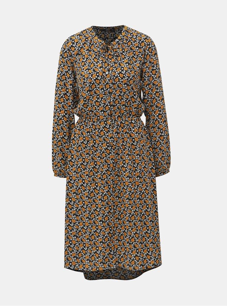Hořčicovo-černé květované košilové šaty ONLY