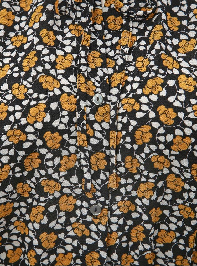 Rochie tip camasa mustar-negru florala ONLY