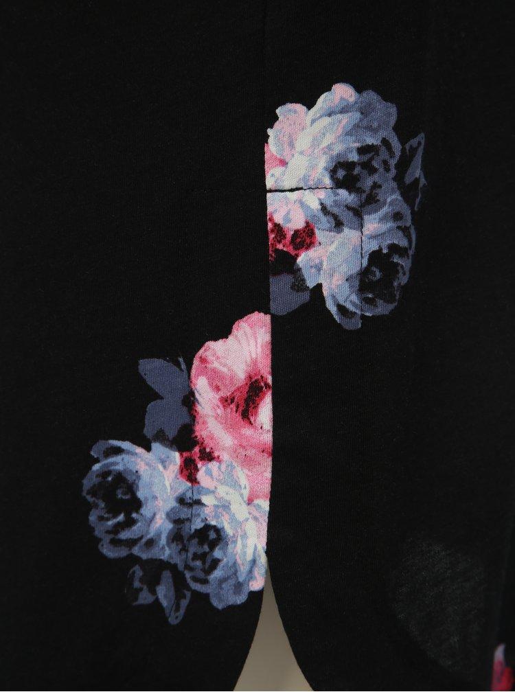 Tunica neagra florala de dama cu maneci 3/4 Tom Joule