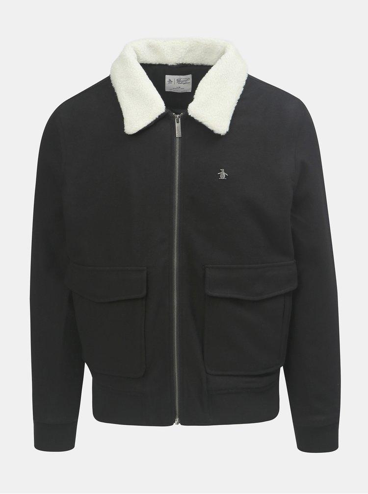 Černá vlněná bunda s odnímatelným zatepleným límečkem Original Penguin Sherpa