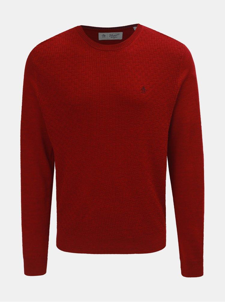 Červený basic svetr z Merino vlny Original Penguin