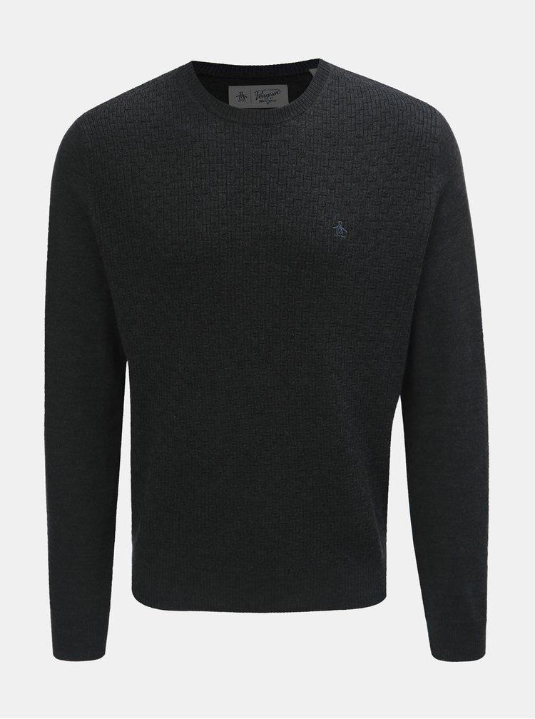 Tmavě šedý basic svetr z Merino vlny Original Penguin