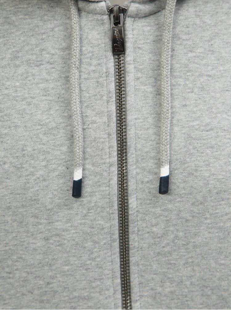 Svetlosivá melírovaná basic mikina na zips Original Penguin
