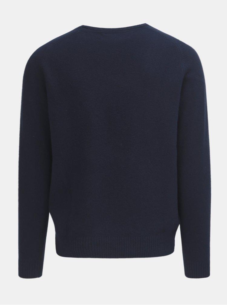 Pulover albastru inchis din lana Original Penguin