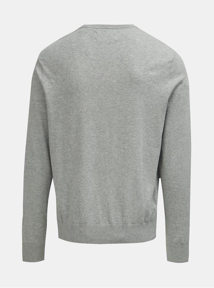 Svetlosivý melírovaný sveter s véčkovým výstrihom Original Penguin