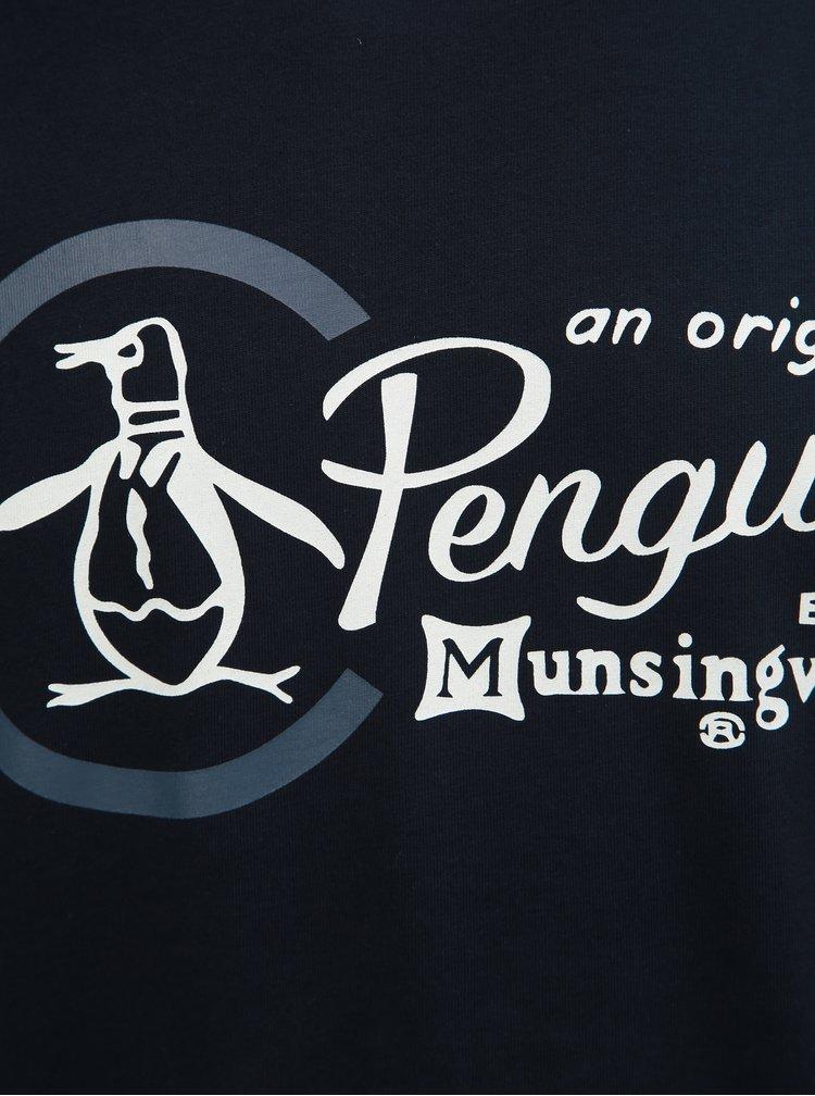 Tmavomodré tričko s potlačou a okrúhlym výstrihom Original Penguin