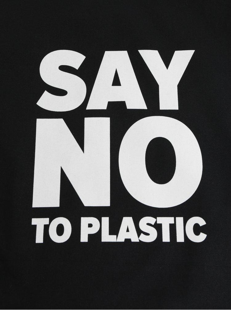 Geanta neagra din material textil cu imprimeu ZOOT Original Say no to plastic