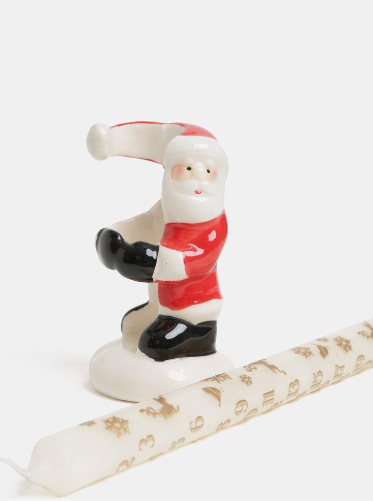 Bílá adventní svíčka se stojánkem ve tvaru Santa Clause SIFCON