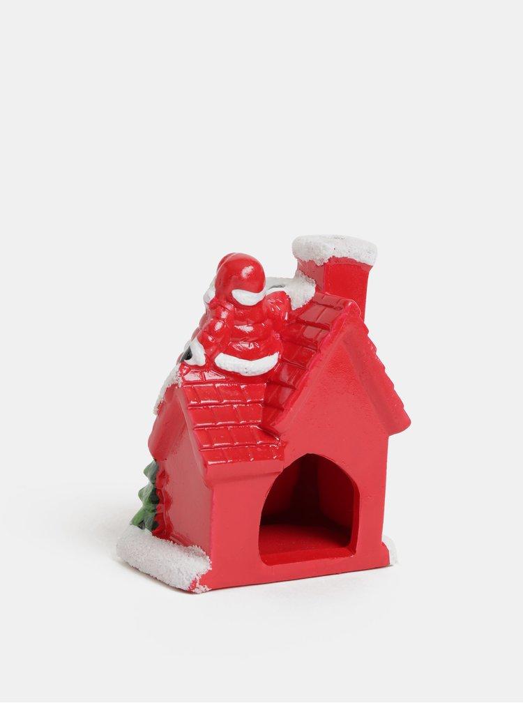 Decoratie stralucitoare de Craciun rosie in forma de casa cu Santa Claus SIFCON