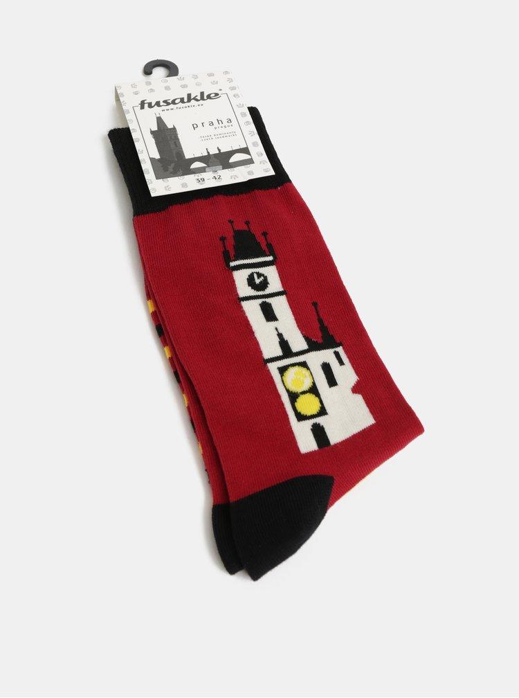 Čierno–červená unisex ponožky s motívom orloja Fusakle Praha orloj