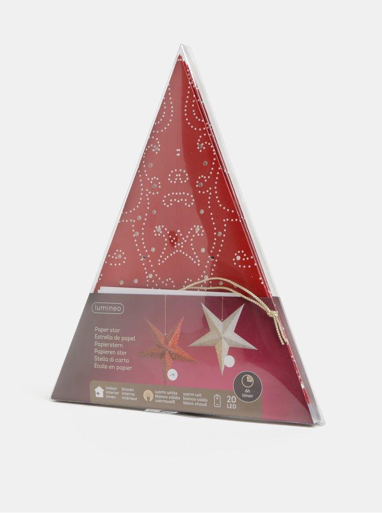Steluta rosie din hartie cu LED Kaemingk