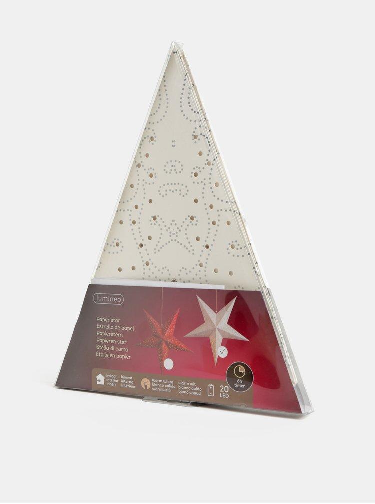 Bílá LED papírová hvězda Kaemingk