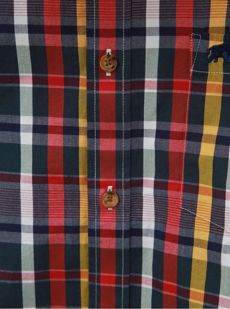 Modro–červená kockovaná košeľa s dlhým rukávom Raging Bull