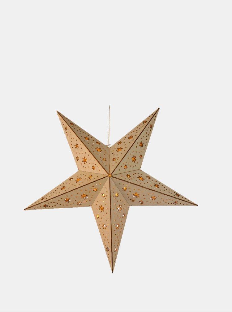 Svetlohnedá LED drevená hviezda s motívom vločiek Kaemingk