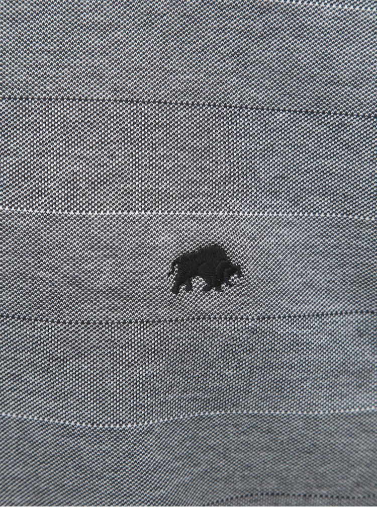 Sivá melírovaná pruhovaná polokošeľa s krátkym rukávom Raging Bull