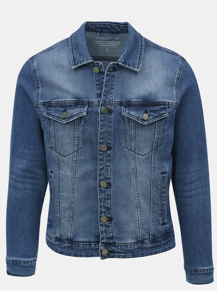 Jacheta albastra din denim cu aspect prespalat ONLY & SONS Coin