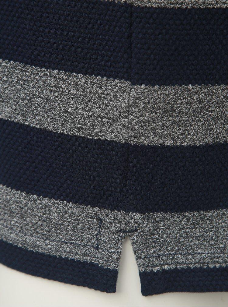 Sivo–modrá pruhovaná polokošeľa s krátkym rukávom Raging Bull