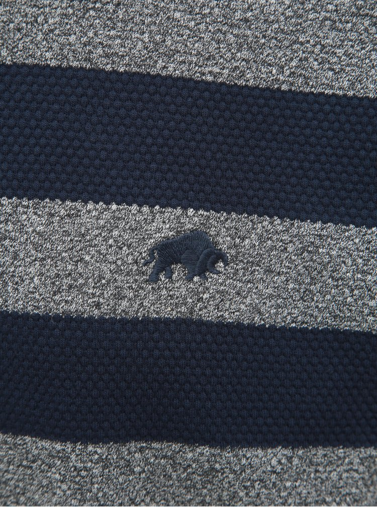Tricou polo gri-albastru in dungi cu maneci scurte Raging Bull