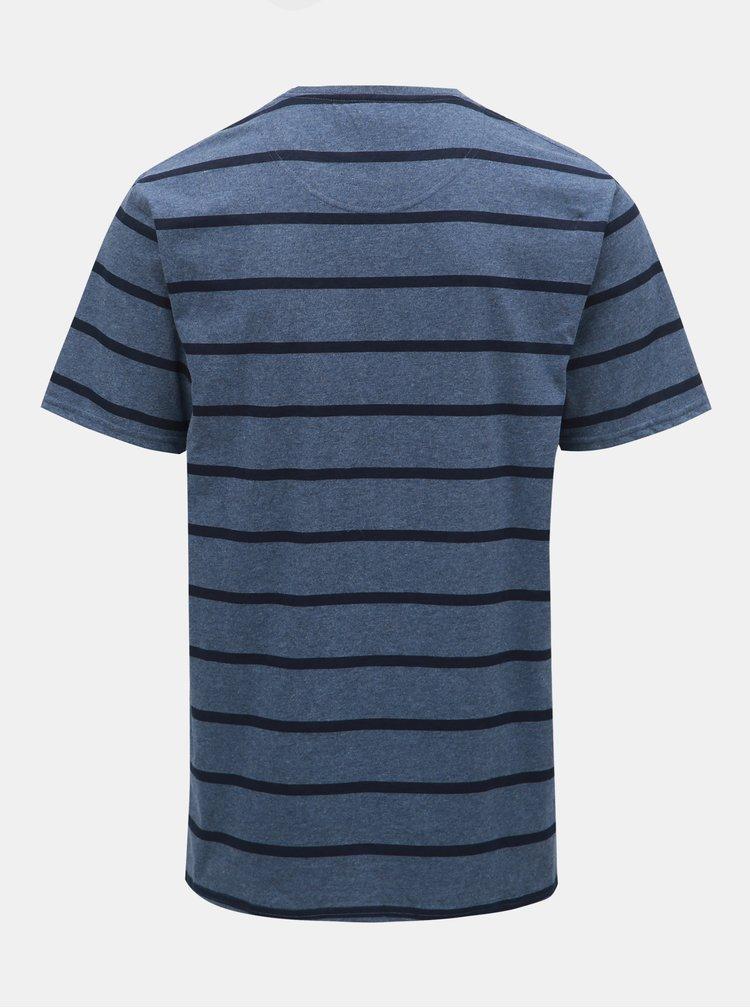 Tmavě modré pruhované basic tričko Raging Bull