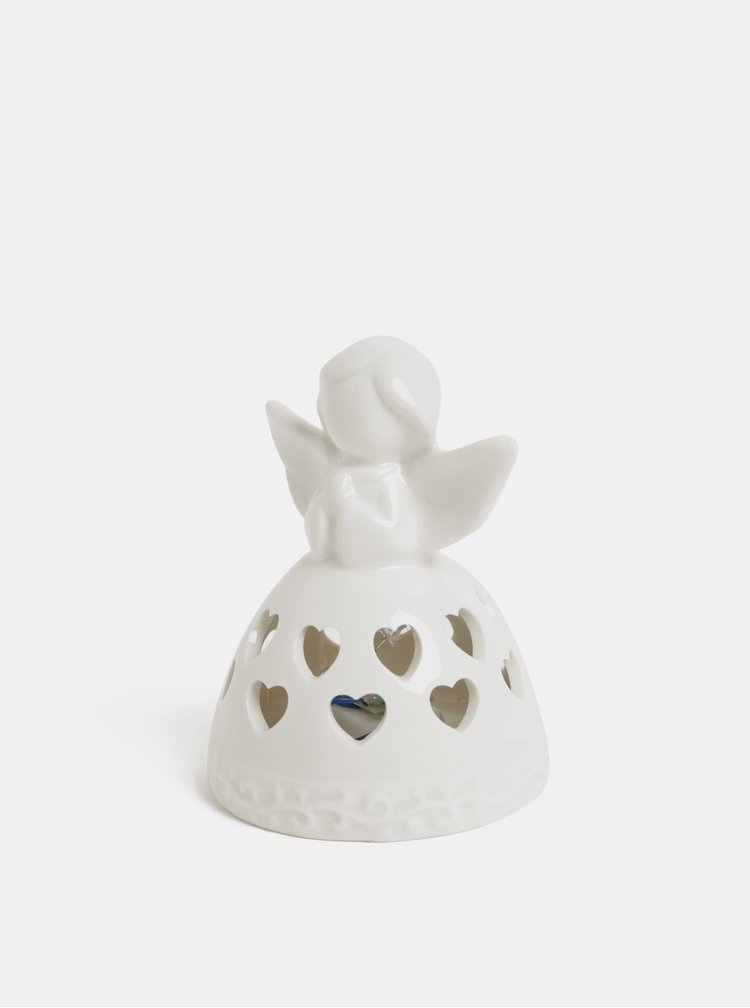 LED světelná porcelánová dekorace ve tvaru anděla s motivem srdíček Kaemingk