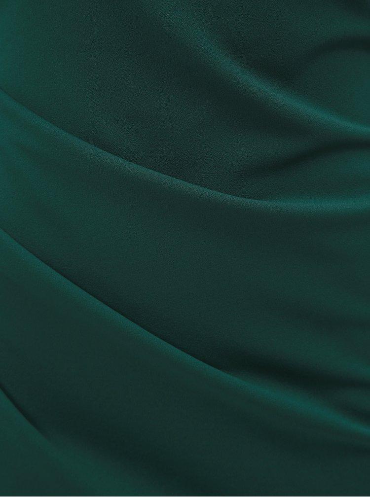 Tmavě zelené pouzdrové maxišaty s lodičkovým výstřihem a řasením na boku ZOOT