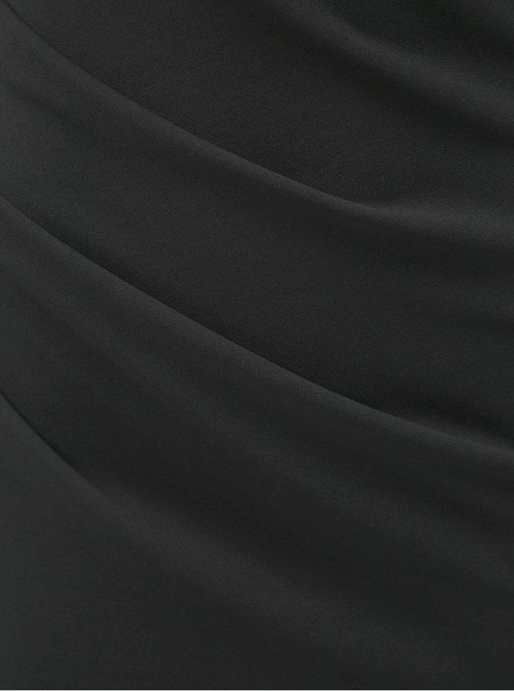 Rochie maxi neagra mulata cu decolteu barcuta si pliuri laterale ZOOT