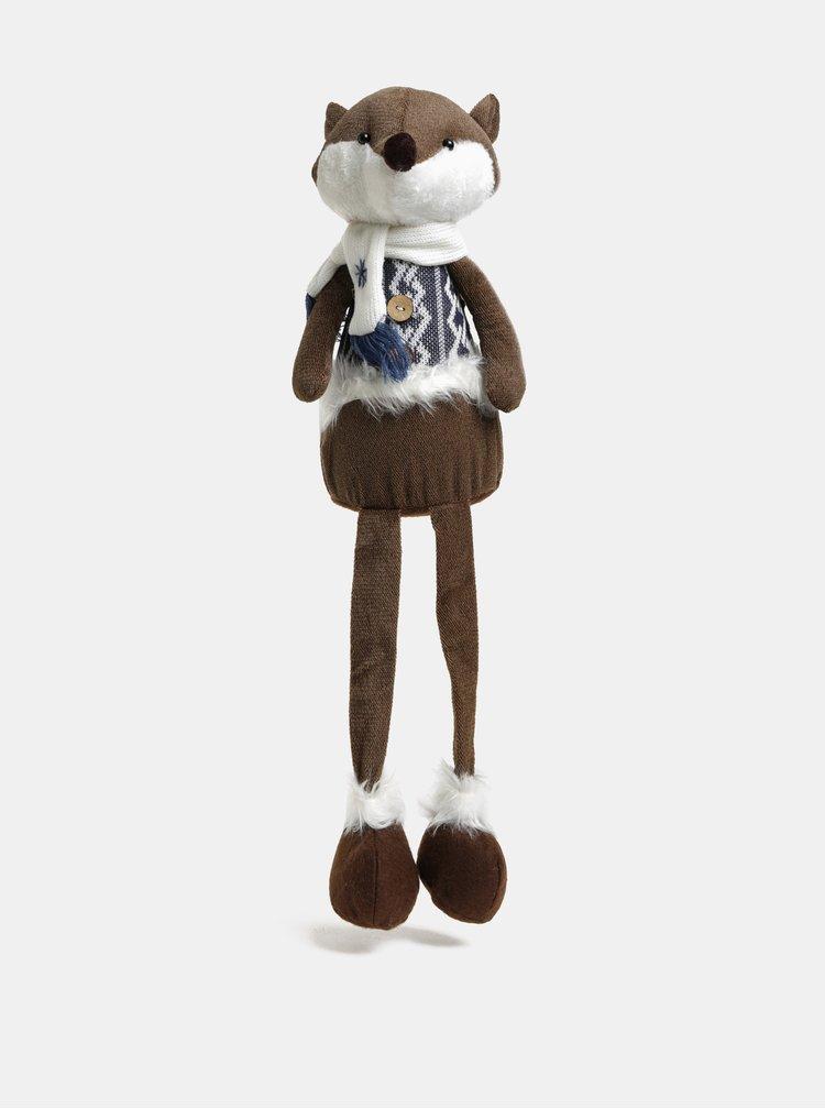 Bílo-hnědá sedící figurka ve tvaru lišky Kaemingk