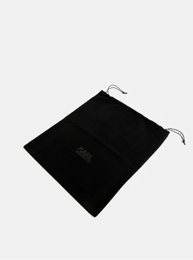 Čierne kožené tenisky s potlačou KARL LAGERFELD Vintesse