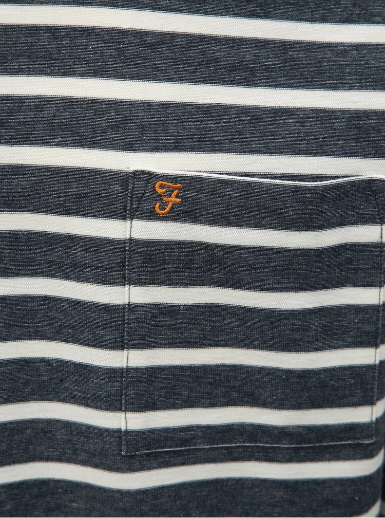 Bílo-modré pruhované tričko s dlouhým rukávem Farah Melis