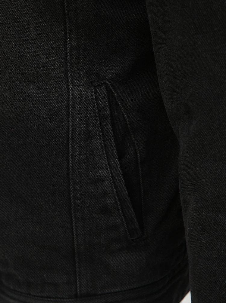 Jacheta gri inchis din denim cu blana artificiala Blend