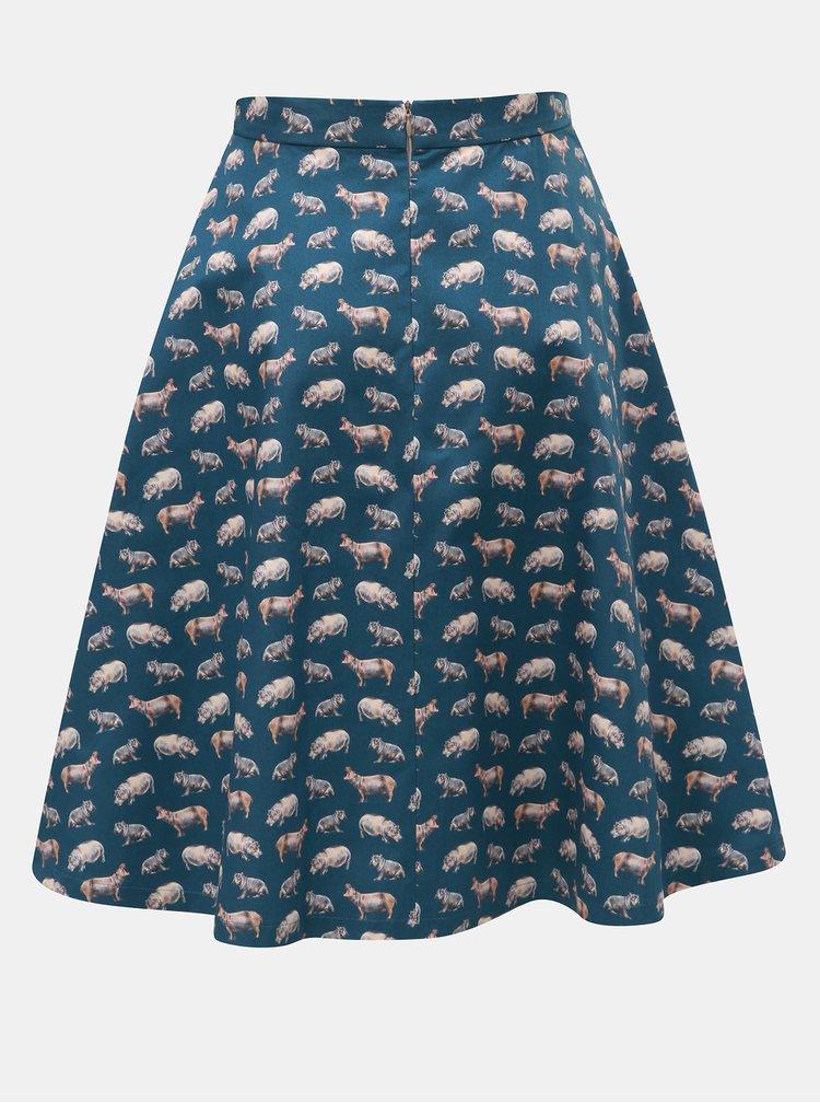 Petrolejová sukně s motivem hrocha annanemone