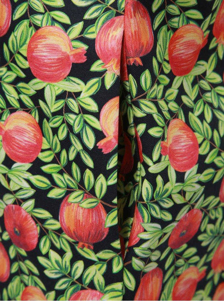 Červeno–zelené šaty s motívom granátových jabĺk annanemone
