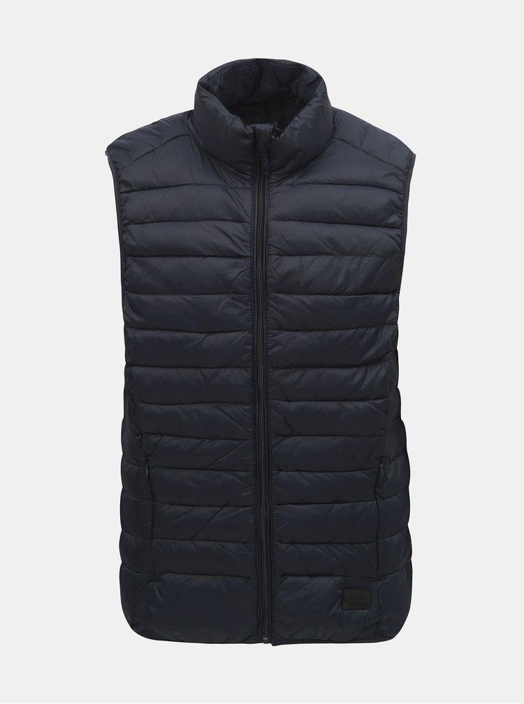 Tmavě modrá prošívaná vesta Blend