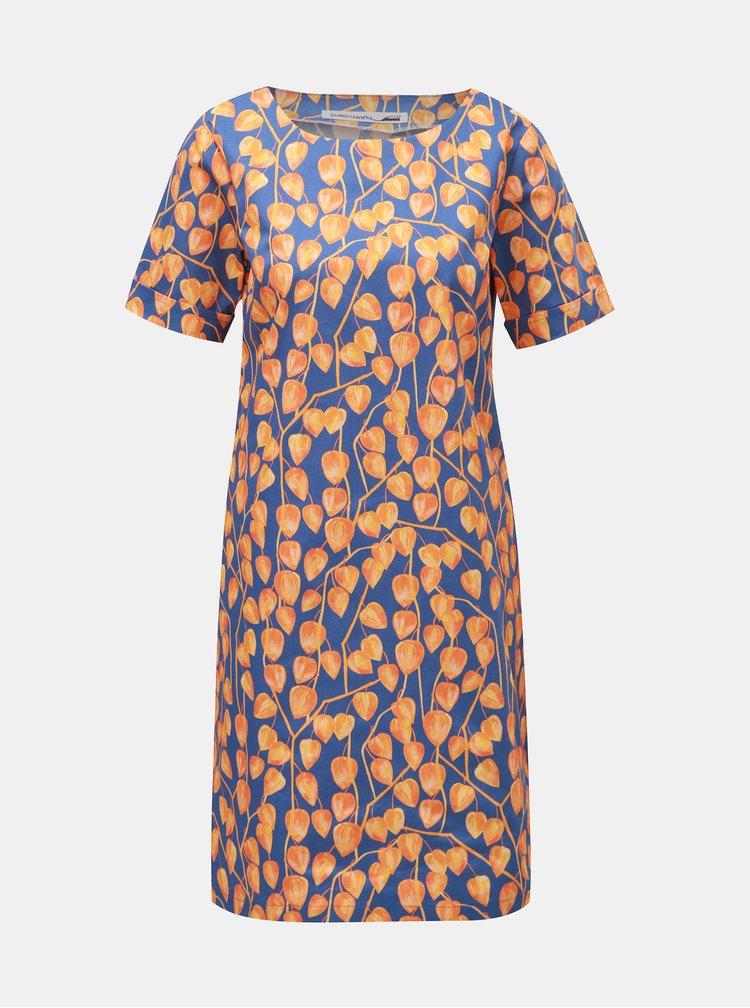 Oranžovo–modré šaty s motívom machovky annanemone