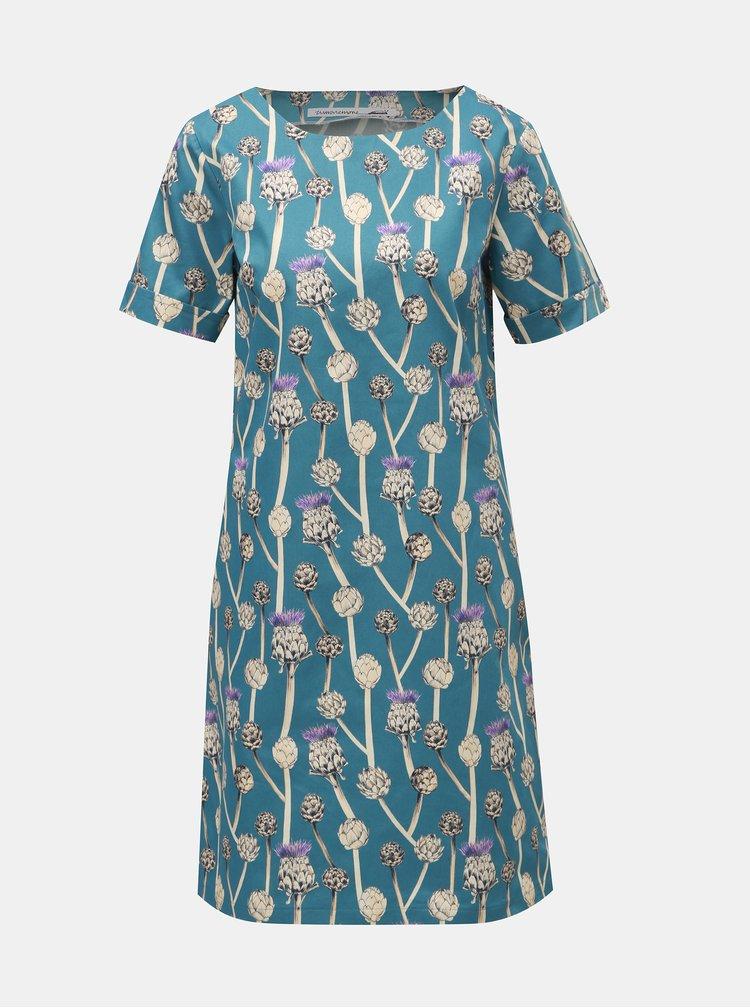 Bílo-modré šaty s motivem bodláků annanemone