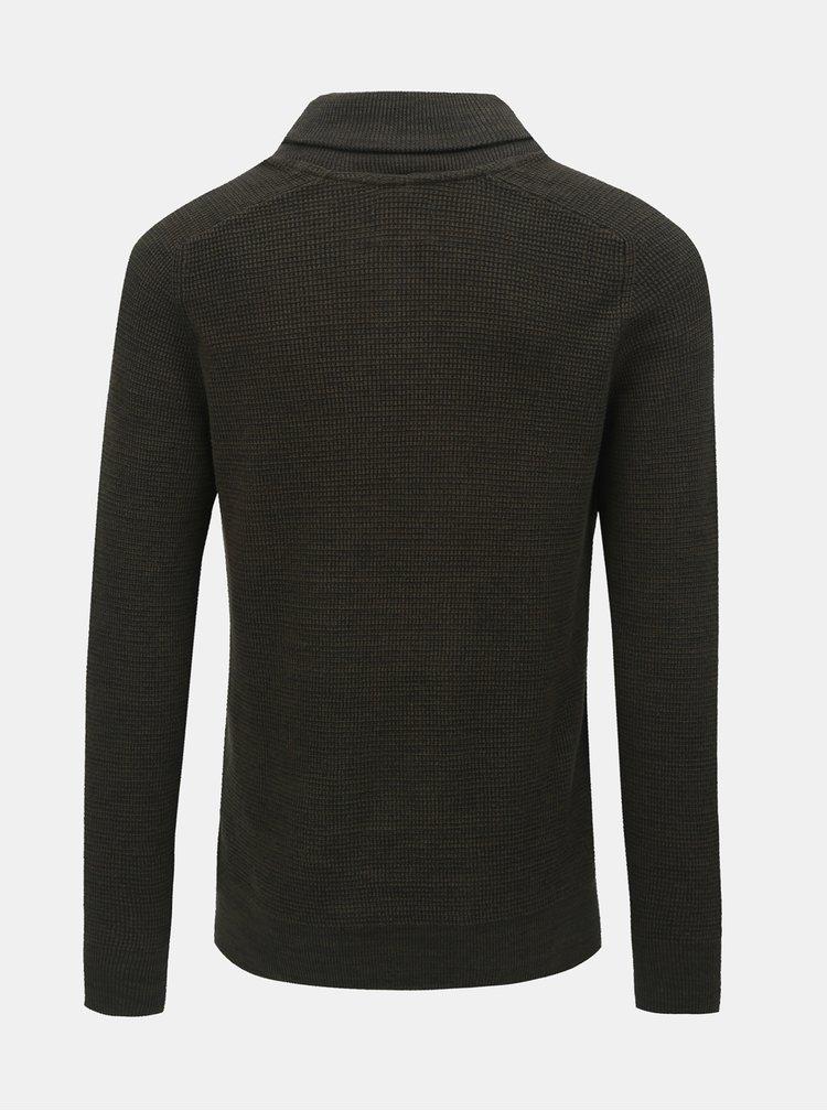 Tmavozelený sveter s golierom Blend