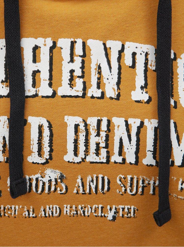 Hanorac mustar cu inscriptie Blend