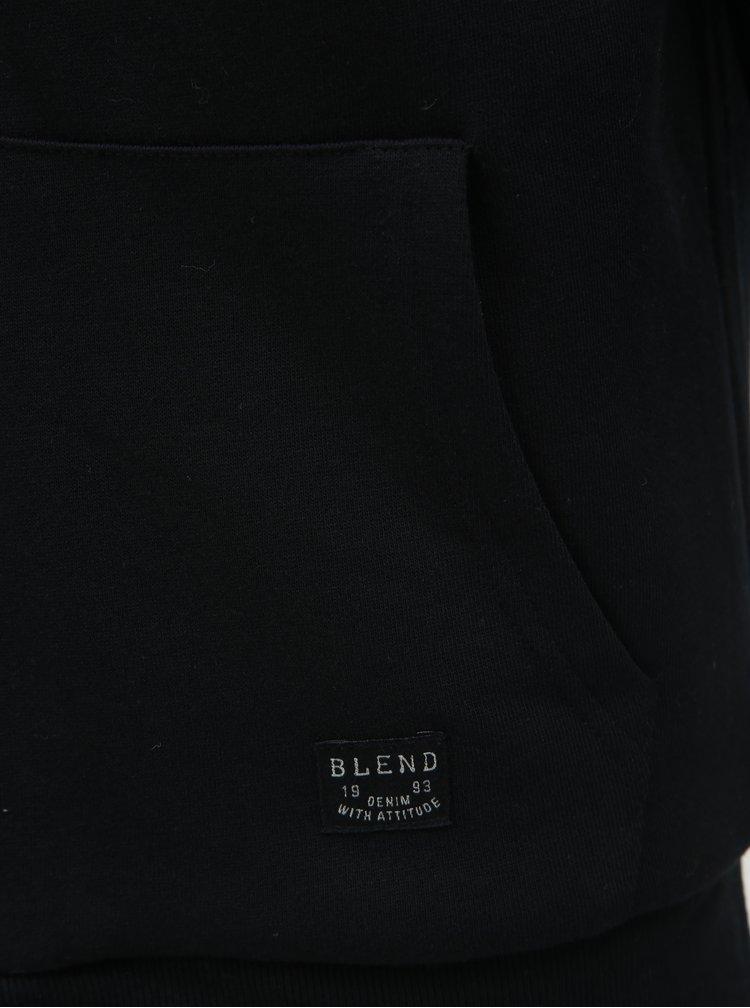 Hanorac negru cu blana artificiala Blend