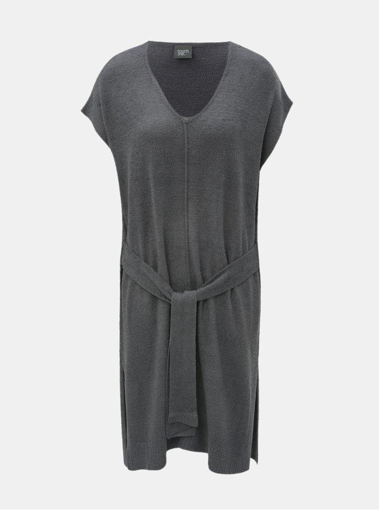 Šedé svetrové šaty se zavazováním touch me.