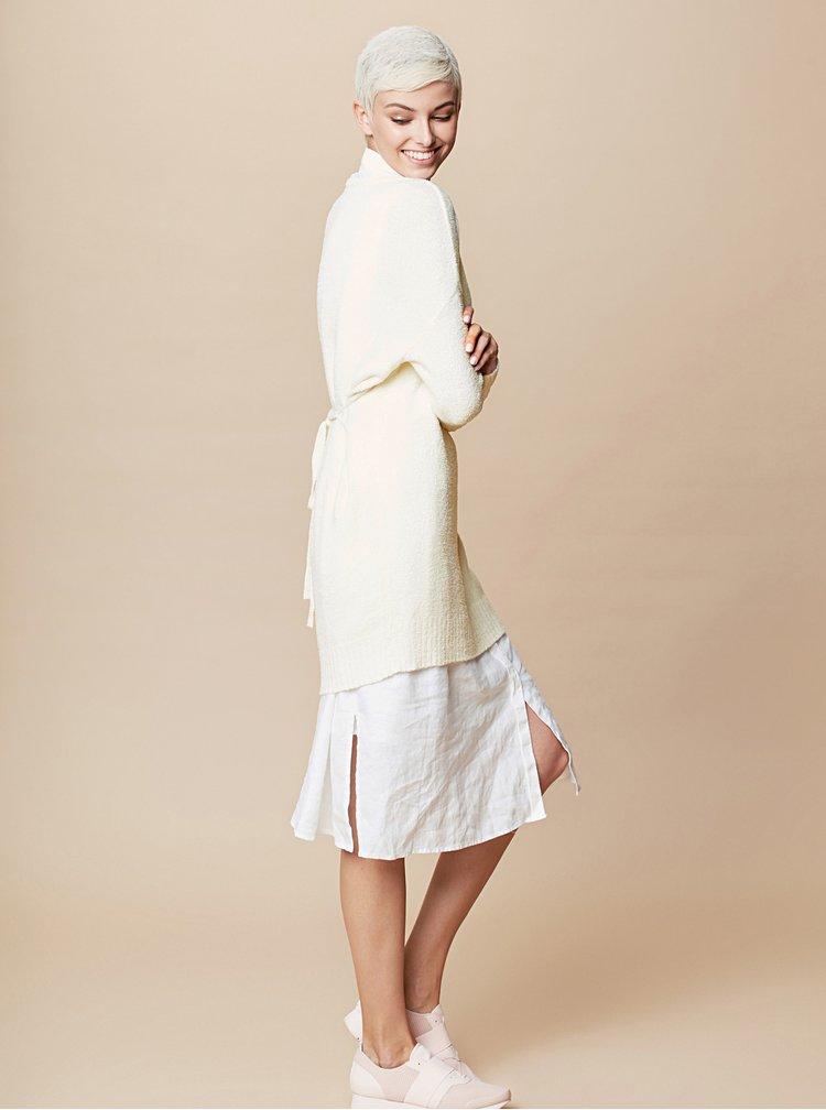 Krémové svetrové minišaty s dlouhým rukávem a zavazováním touch me.