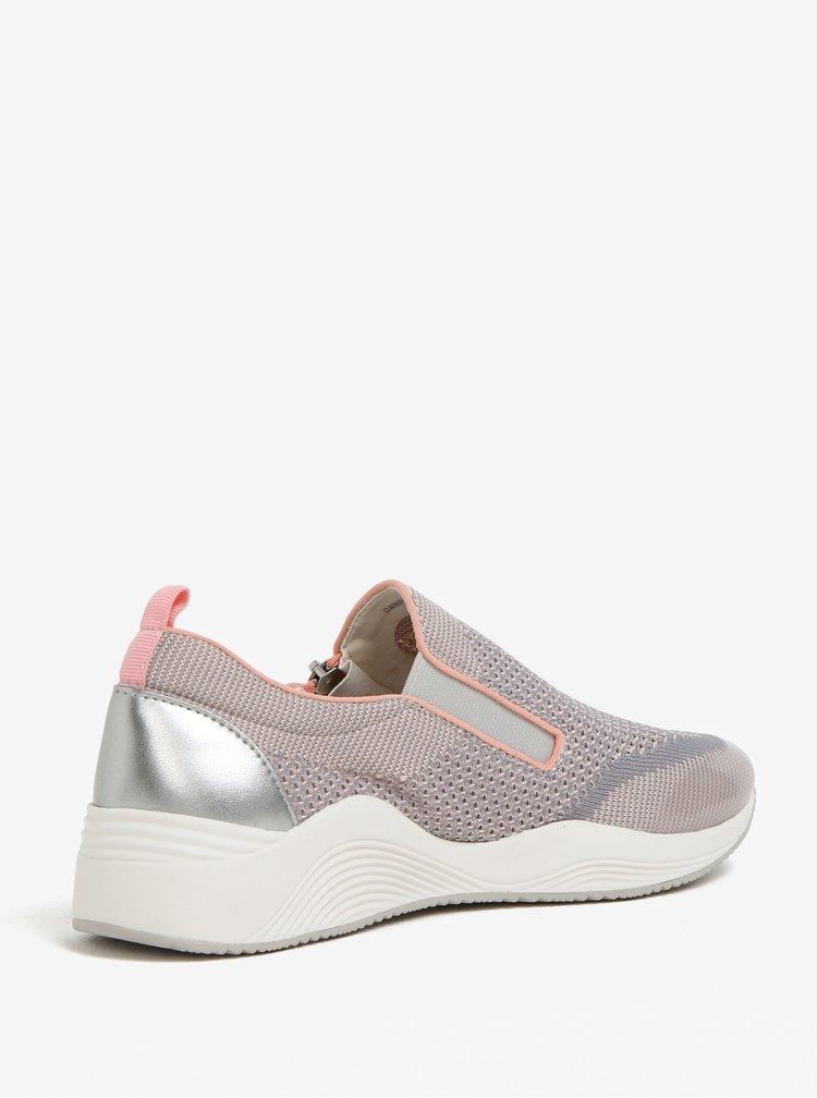 Růžovo-šedé dámské tenisky na zip Geox Omaya